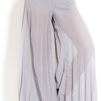 GREY PLEATED SHEER PALAZZO PANTS from Music City Pretty Boutique