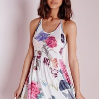 HALTERNECK SLINKY SKATER DRESS WHITE FLORAL