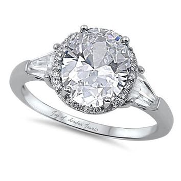 A Classic 2.8CT Oval Cut Russian Lab Diamond Halo Engagement Ring with Baguettes