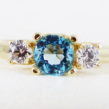 Swiss Blue Topaz and CZ 14k Yellow Gold Three Stone Ring, December Birthstone Ring, Swiss Blue Topaz Engagement Ring, 14k Gold Ring