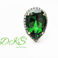 Swarovski Large Statement Ring, Pear, Halo Crystal, Antique Gold, Green, Adjustable, DKSJewelrydesigns, FREE SHIPPING