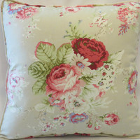"""Tan Cottage Floral Throw Pillow - NEW Waverly Santctuary Rose 18"""" Square Insert Included Ready Ship  Complete Cushion Pink Roses"""