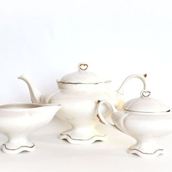 1951 Tea Set Loma Products Ivory and Gold Teapot Sugar Creamer Shabby Cottage Chic