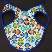 Baby Bib, Monkey Bib, Gender Neutral Bib, Stay in Place, Stay Clean, Bib Apron, Unique Baby Gift, Baby Shower Gift, Baby, Blue, Art Apron