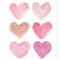Pink Nursery Art 11x14 Watercolor Heart Shabby Chic Style Pink Heart Nursery Decor