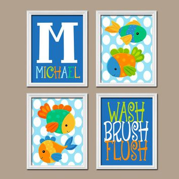 FISH BATHROOM Wall Art, FISH Canvas or Prints Kid Ocean Animals Decor, Wash Brush Flush Rules, Child Name Decor, Set of 4 Matching Pictures