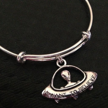 Spaceship Martian I Want to Believe Charm Silver Expandable Bracelet Gift Adjustable Wire Bangle Handmade in USA Trendy