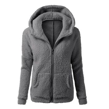 hoodie Winter Women Thicken Fleece Warm Long Hooded Sweatshirt Coat Zip-Up Outerwear Hoodies Jacket 4 Colors With Pocket