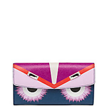 Fendi - Monster Swarovski Crystal-Accented Saffiano Leather Continental Wallet - Saks Fifth Avenue Mobile