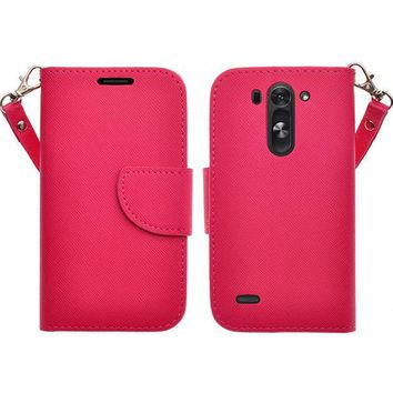 LG G3 s   LG G3 mini   LG G3 Beat   LG G3 Vigor   LG D725   LG D722 Case, Wrist Strap Flip Folio [Kickstand Feature] Pu Leather Wallet Case with ID & Credit Card Slots - Hot Pink