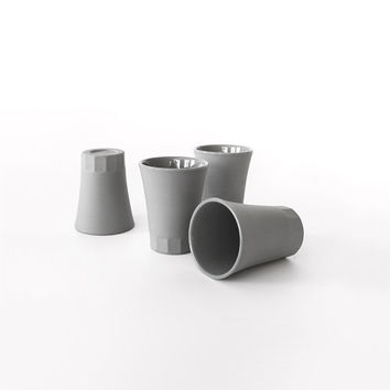 Espresso cup, shot glass, handmade small series, made of light  grey porcelain, natural porcelain in sight [4 cups set] Collection POSITANO