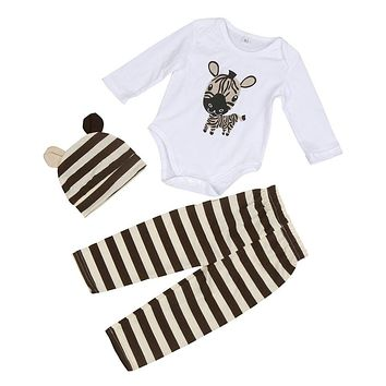 3pcs Baby Boys Girls Newborn Hat+Romper+Pants Trousers Outfit Clothing Set
