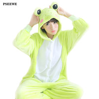 Flannel Women Pajama Cartoon Cosplay Onesuits Nightgown Unisex Homewear Frog Animal Pajamas one piece Onesuits for adults