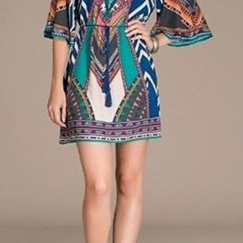 Eliza Bella for Flying Tomato Blue Boho, Gypsy, Hippie Print Dress / Blouse SML