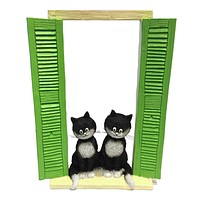 Two Cats Sitting in Window with Green Shutters On the Watch Figurine by Dubout