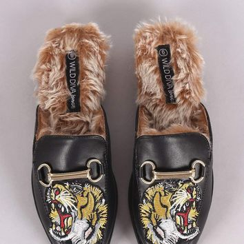 Wild Diva Lounge Embroidered Tiger Head Horsebit Mule Flat