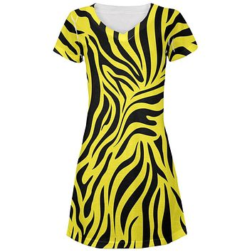 Zebra Print Yellow Juniors V-Neck Beach Cover-Up Dress