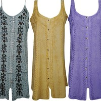 Womens Sundress Button Front Embroidered Boho Sexy Resort Fashion Shift Dress Wholesale Lot Of 3