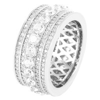 Sterling Silver 3D Solitaire Iced Out Men's Wedding Ring Band
