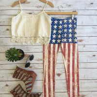 Rust American Flag Leggings