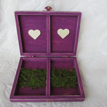 Rustic Aged Plum Woodland Moss Ivory Burlap Flower Wedding Ring Bearers Box Divided HIS/ HERS