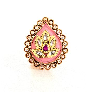 Lotus flower center matte meenakari tear drop adjustable Finger ring