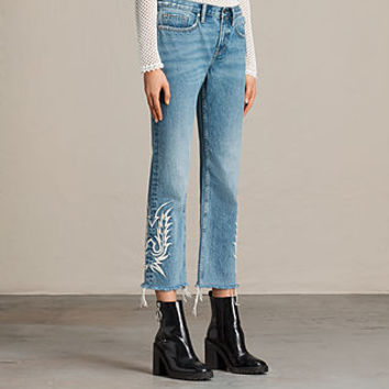 ALLSAINTS US: Womens Philly Embroidered Boys Jeans (Indigo Blue)
