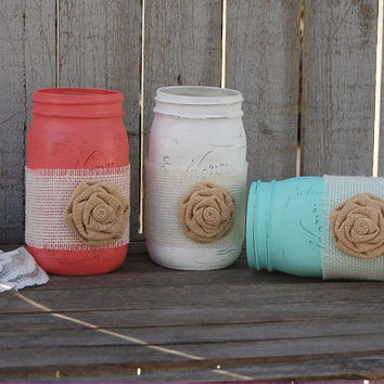 Mason Jars, Shabby Chic, Mint Green, Coral, White, Painted Mason Jars, Distressed, Burlap, Rustic, Country, Beach, Wedding Decor