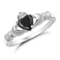 Sterling Silver Black Onyx Heart Claddagh Ring Size 10
