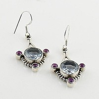 Alexandrite & Amethyst Sterling Silver Earrings