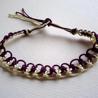 Wine/purple and cream Macrame Bracelet .
