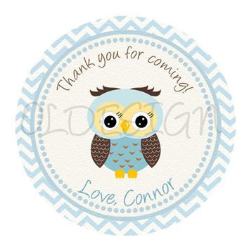 Boy Owl birthday, baby shower, sticker . 2 Inch Circles. Stickers, Cupcake Topper, Tags,Digital file