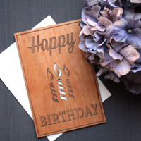 Wooden Greeting Cards - Birthday Candle Wood Card