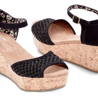 BLACK CROCHET WOMEN'S CORK PLATFORM WEDGES
