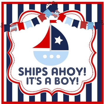 Nautical Baby Shower Stickers Or Favor Tags