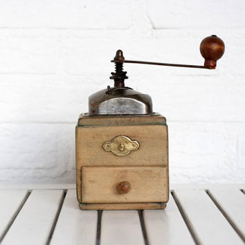Vintage Circa 1940s Wooden Coffee Grinder From Poland