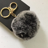 New! Frosted black Fur pom pom keychain fur ball bag pendant charm