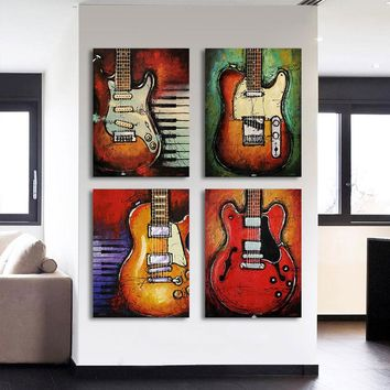 4 Piece canvas art music Guitar wall picture panel print for living room picture