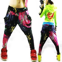 Jazz hiphop jazz dance hip-hop pants ds doodle spring and summer loose neon candy color harem pants 0416 = 1958203332
