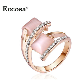 New Design Square Opal Stone Rings For Women Rose Gold Plated Austrian Crystal Anel Female Bijoux