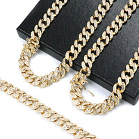 """Iced Out 14k Gold PT 10mm 8.5"""" - 24"""" Miami Cuban Choker Chain Necklace Bracelet"""