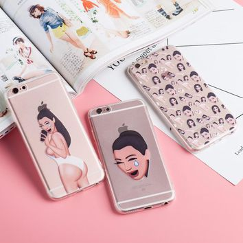 Napeyin Kimoji Kim Kardashian kanye west north kylie jenner Soft TPU Phone Case Cover Coque For iPhone 6 6S Plus 5 5S SE