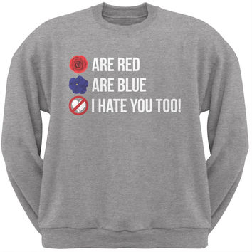 Roses are Red Poem Black Adult Crew Neck Sweatshirt