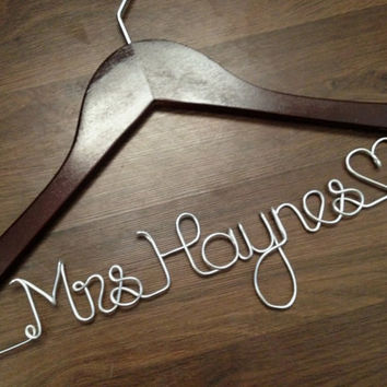 Wedding Dress Hanger, Bride Hanger, Last Name Hanger, Mrs Hanger, Wedding Hanger, Personalized Hanger, Bridesmaid Hangers, Bride Gift