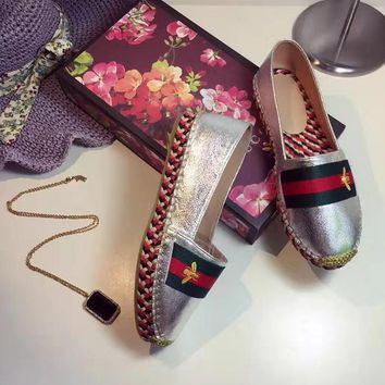 GUCCI lady golden silver kick little bee ribbon fisherman's shoes