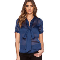 Blue Bow Collared Chiffon Roll-up Blouse