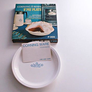 Vintage Corning Ware Pie Plate In Original Box Blue Cornflower 9 Inch Pie Dish P-309 New Old Stock