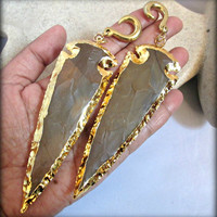 Stone ear weights-arrowhead ear weights-Jasper arrowhead stone carved 24K gold electroplated edges ear weights