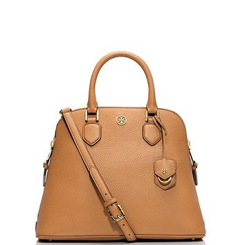Tory Burch Robinson Pebbled Open Dome Satchel