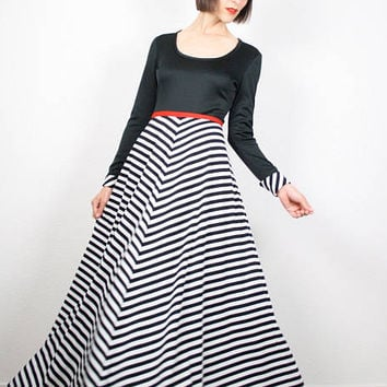 Vintage 70s Dress Black White Chevron Striped Maxi Dress Mod Red Trim Empire Long Sleeve Hippie Dress 1970s Dress Hostess Op Art S Small M